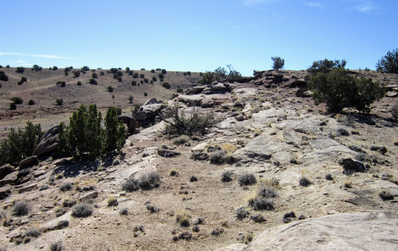 Terrain along western border facing SW